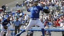 Toronto Blue Jays starting pitcher Marco Estrada delivers to the Detroit Tigers on March 22, 2017. (Chris O'Meara/AP)
