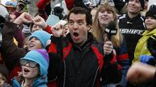 Rick Mercer cheers with the crowd in Rossland, British Columbia, Canada while taping segments for the Rick Mercer Report in 2010. (Deborah Baic/The Globe and Mail/Deborah Baic/The Globe and Mail)