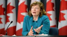 Suzanne Legault, Information Commissioner of Canada, holds a news conference in the National Press Theatre in Ottawa on March 31, 2015. (Sean Kilpatrick/THE CANADIAN PRESS)
