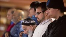Kamran Bhatti, second from right, a Hamilton software developer who has organized five meetings between federal agents and Muslim youth at mosques in the past year, takes part in afternoon prayer in his Hamilton mosque on Wednesday, April 24, 2013. (Glenn Lowson For The Globe and Mail)