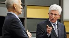 Bloc Quebecois Leader Gilles Duceppe spars with NDP chief Jack Layton during the French-language leader's debate in Ottawa on April 13, 2011. (CHRIS WATTIE/REUTERS)