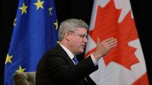 Prime Minister Stephen Harper takes part in a Q and A session in The Hague, Netherlands, on Monday, March 24, 2014. (Sean Kilpatrick/THE CANADIAN PRESS)
