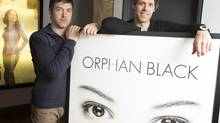 """Ivan Schneeberg, left, and David Fortier, of Temple Street Productions, are the men behind some shows like """"Being Erica"""" and their latest, Orphan Black, airing on the Space channel, which is receiving great reviews and winning awards. The pair were photographed in their office on King Street in Toronto, Ontario on April 16, 2014. (Peter Power for The Globe and Mail)"""