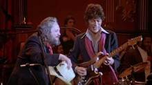 "Ronnie Hawkins and Robbie Robertson in a scene from ""The Last Waltz"""