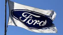 A Ford flag flies outside the Oakville Assembly Plant. (CHRIS HELGREN/REUTERS)