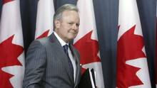 Stephen Poloz, Governor of the Bank of Canada, arrives for a news conference after the release of the bank's Monetary Policy Report, in Ottawa, Wednesday, April 12, 2017. (FRED CHARTRAND/THE CANADIAN PRESS)