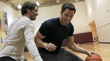 Jonathan, left, and Drew Scott, hosts of Property Brothers, play basketball at LA Fitness gym in Toronto on June 27, 2011. (Michelle Siu/Michelle Siu/The Globe and Mail)