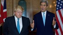British Foreign Secretary Boris Johnson (L) and US Secretary of State John Kerry give a joint press conference after a meeting on the situation in Syria at Lancaster House in London on October 16, 2016. The United States and Britain warned today that western allies were considering imposing sanctions against economic targets in Syria and Russia over the siege of Aleppo. (JUSTIN TALLIS/AFP/Getty Images)