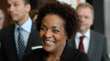 Former Governor General Michaelle Jean smiles after being chosen as the new Secretary-General of la Francophonie during the Francophonie Summit in Dakar, Senegal on Nov. 30. (Sean Kilpatrick/Canadian Press)