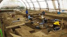 Work goes on at an archeological dig in Winnipeg in a handout photo. Tools, pieces of ceramic pots and other artifacts dating as far back as 900 years are shedding new light on the role an area of modern-day Winnipeg played in aboriginal lives. (THE CANADIAN PRESS)