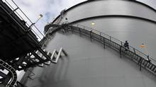 A 12-storey LNG storage tank. A rolled steel and double-walled, perlite-insulated cryogenic tank that can keep 1.5 billion cubic feet of natural gas in compressed liquid form, chilled to -160 C at the Mt. Hayes Natural Gas Storage Facility in B.C. (CHAD HIPOLITO For The Globe and Mail)