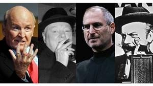 From left, Jack Welch, Winston Churchill, Steve Jobs and the fictional movie character Charles Kane, of the film Citizen Kane.