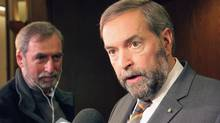 NDP leader Thomas Mulcair crums after a speech at the Economic Club in Toronto on Friday, May 10, 2013. (Colin Perkel/THE CANADIAN PRESS)