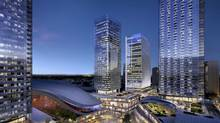 The new arena district in Edmonton is seen in this handout artist rendering. The owner of the Edmonton Oilers says construction and leasing in what will be the city's new arena district is making it one of the top developments in North America. (HO/THE CANADIAN PRESS)