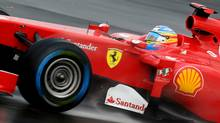 Ferrari's Fernando Alonso of Spain on his way to winning the British Formula One Grand Prix at the Silverstone Circuit on July 10, 2011 in Northampton, England. (Clive Mason/Clive Mason/Getty Images)