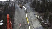 Kinder Morgan pipeline being installed near Windy Point, Jasper National Park, in 2007 (Kinder Morgan Canada)