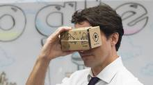 Prime Minister Justin Trudeau takes part in a virtual reality demonstration at the new Google Canada Development headquarters in Kitchener, Ont., on Thursday, January 14, 2016. (Nathan Denette/THE CANADIAN PRESS)