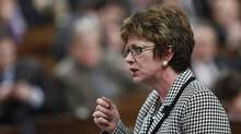 Human Resources Minister Diane Finley speaks during Question Period in the House of Commons on Feb. 2, 2012. (CHRIS WATTIE/CHRIS WATTIE/REUTERS)