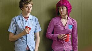 Michael Cera, left, and Mary Elizabeth Winstead in a scene from Scott Pilgrim vs. the World.