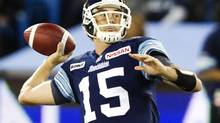 Toronto Argonauts quarterback Ricky Ray drops back to throw a pass against the Winnipeg Blue Bombers in the first half of their CFL football game in Toronto October 19, 2012. (FRED THORNHILL/REUTERS)