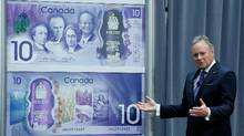Bank of Canada Governor Stephen Poloz speaks after unveiling a commemorative $10 bank note celebrating the 150th anniversary of Canada's confederation during an event in Ottawa, Ontario, Canada April 7, 2017. (CHRIS WATTIE/REUTERS)