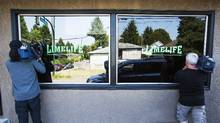 Sgt. Randy Fincham of Vancouver police said in a news release that officers raided the Limelife Society store, located on the east side of the city, on Wednesday night. (Ben Nelms For The Globe and Mail)