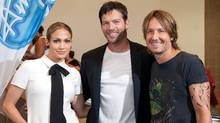 From left to right, Jennifer Lopez, Harry Connick, Jr. and Keith Urban of American Idol. (Erika Goldring/Getty Images)
