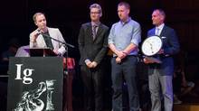 Researchers Gordon Pennycook, Derek Koehler, Nathaniel Barr and Jonathan Fugelsang accept their 2016 Ig Nobel prize at Harvard University for their University of Waterloo-based study called On the Reception and Detection of Pseudo-Profound Bullshit. (Howard Cannon)