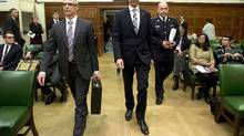 Minister of Public Safety and Emergency Preparedness Steven Blaney, CSIS Director Michel Coulombe and RCMP Commissioner Bob Paulson appear at the Commons National Security committee on Parliament Hill Wednesday October 8, 2014 in Ottawa. (Adrian Wyld/THE CANADIAN PRESS)