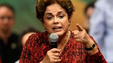 Brazilian suspended president Dilma Rousseff speaks during a Workers' Party rally in Brasilia on Aug. 24, 2016. (ANDRESSA ANHOLETE/AFP/Getty Images)