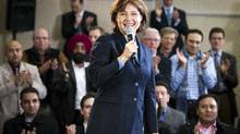 Christy Clark talks to a room full of supporters after her announcement to make a run for leader in Vancouver December 8, 2010. (John Lehmann/The Globe and Mail/John Lehmann/The Globe and Mail)