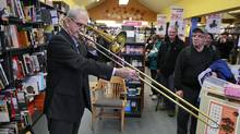 Book Warehouse owner Sharman King plays his trombone at the Vancouver store on March 15, 2012. Mr. King recently announced he is permanently closing his stores. (Jeff Vinnick for The Globe and Mail/Jeff Vinnick for The Globe and Mail)