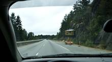 A sign on Highway 1 warns drivers of a road closing in July, 2008, after a massive rockslide blocked the Sea-to-Sky Highway, the main route that links Vancouver with Whistler, B.C. (JOHN LEHMANN/THE GLOBE AND MAIL)