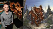 Paleontologist Jordan Mallon of the Canadian Museum of Nature stands beside the skeleton of a newly reported species of horned dinosaur, Spiclypeus shipporum. On the right, an illustration of the creature as envisioned by comic book artist Brett Booth. (Brett Booth & Jess Ruffner/Canadian Museum of Nature)