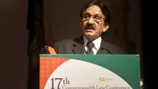 Pakistan's Chief Justice Iftikhar Muhammad Chaudhry addresses the 17th Commonwealth Law Conference in Hyderabad, India, Sunday, Feb. 6, 2011.