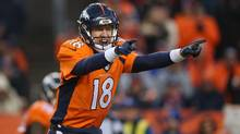 Broncos quarterback Peyton Manning took over in the third quarter, and led Denver on four scoring drives in five possessions before he lined up in victory formation. (Doug Pensinger/Getty Images)