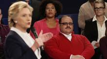 Kenneth Bone listens as Democratic presidential nominee Hillary Clinton answers a question during the second presidential debate with Republican presidential nominee Donald Trump at Washington University in St. Louis, Sunday, Oct. 9, 2016. (Rick T. Wilking/AP)