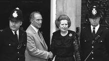 Canadian Prime Minister Pierre Trudeauis greeted by British PM Margaret Thatcher outside 10 Downing Street in London in June 1984. (Chris Schwarz/The Canadian Press)