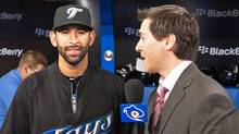 Jose Bautista #19 of the Toronto Blue Jays is interviewed prior to the home opener for the Toronto Blue Jays as they face the Minnesota Twins during their MLB game at the Rogers Centre April 1, 2011 in Toronto, Ontario, Canada.(Photo By Dave Sandford/Getty Images) (Dave Sandford/2011 Getty Images)