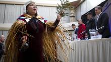A traditional first nations dancer opens the press conference of Eagle Spirit Energy Holdings Ltd., and the Aquilini Group. The proponents are promoting an alternative to the controversial Northern Gateway route. (Ben Nelms for the globe and mail)