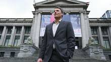 Vancouver mayor Gregor Robertson stands in front of the Vancouver Art Gallery on Dec. 7, 2012. (Jeff Vinnick for The Globe and Mail)