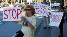 Protesters in Vancouver last month target Enbridge's proposed Northern Gateway pipeline and the expansion of the Kinder Morgan Trans-Mountain pipeline because of the potential for increased oil tanker traffic along the coast of British Columbia. (DARRYL DYCK/THE CANADIAN PRESS)
