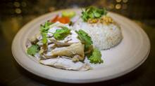 Khao Man Gai (Thai-style Hainanese chicken meal) with the fixings at Freebird Chicken Shack in New West Minister January 12, 2016. (John Lehmann/The Globe and Mail)