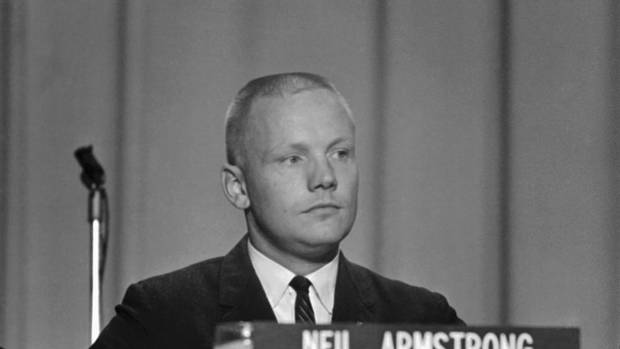 In this Sept. 17, 1962 file photo, Neil Armstrong, one of the nine astronauts, is shown as he was introduced to the press, along with the other astronauts in Houston. (Anonymous/AP)