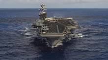 A U.S. Navy strike group is moving toward the western Pacific Ocean to provide a physical presence near the Korean Peninsula on Saturday, April 8, 2017. (HANDOUT/REUTERS)