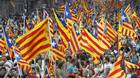 "Demonstrators from across the region, some urging full independence, others calling for more autonomy from Madrid, marched under the slogan ""Catalonia, a new European state."""