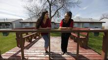 Retha Dykes, left, general manager of Misty Lake Lodge and Bertha Travers, a resident of Little Saskatchewan First Nation near lake St Martin, are photographed at the resort outside Gimli, Manitoba Tuesday, June 4, 2013. (JOHN WOODS For The Globe and Mail)