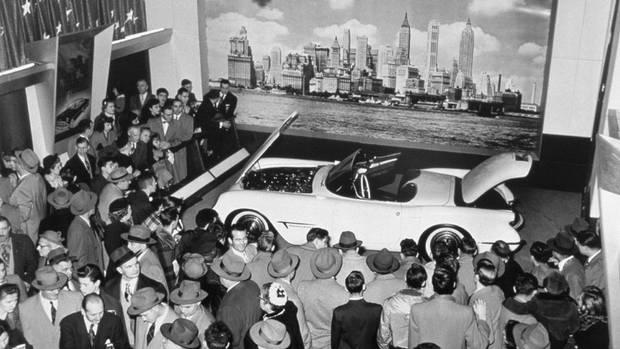The Corvette makes its debut at the 1953 Motorama car show. GM designer Harley Earl envisioned the car as an American alternative to roadsters such as England's Austin Healey, but performance was limited by GM's decision to install off-the-rack components like the Blue Flame six-cylinder engine, which produced only 150 horsepower. (General Motors)