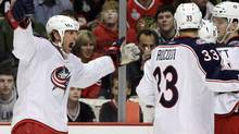 Vinny Prospal celebrates a goal as a member of the Columbus Blue Jackets last season (Nam Y. Huh/The Associated Press)