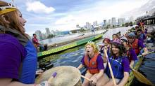 The Burnaby South Secondary School team cheered themselves on before their race at the Rio Tinto Alcan Dragon Boat Festival 2008 in Vancouver on Sunday, June 22. (JENNIFER ROBERTS/THE GLOBE AND MAIL)